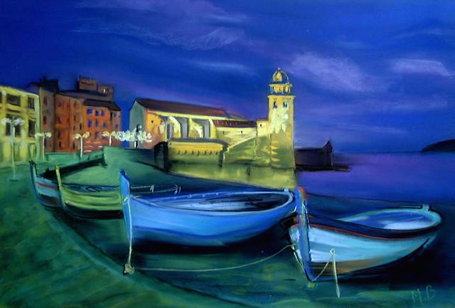 Pastel Collioure de nuit